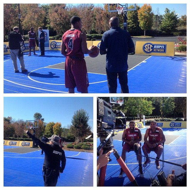 Outside on the SEC Network sport court @s_thornwell0 @tyjohnson_4 #Gamecocks #SECTipoff15