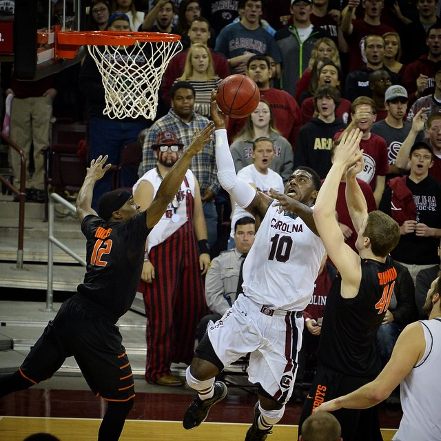 Duane Notice finished with a team-high 20 points in the win over Oklahoma State, including three 3's. #Gamecocks