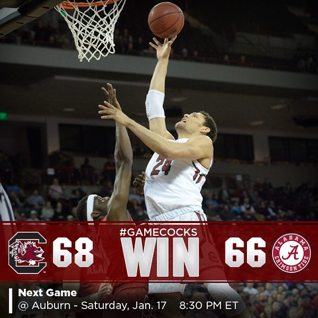 #Gamecocks WIN! 68-66 victory over Alabama tonight. Thank you students and fans!