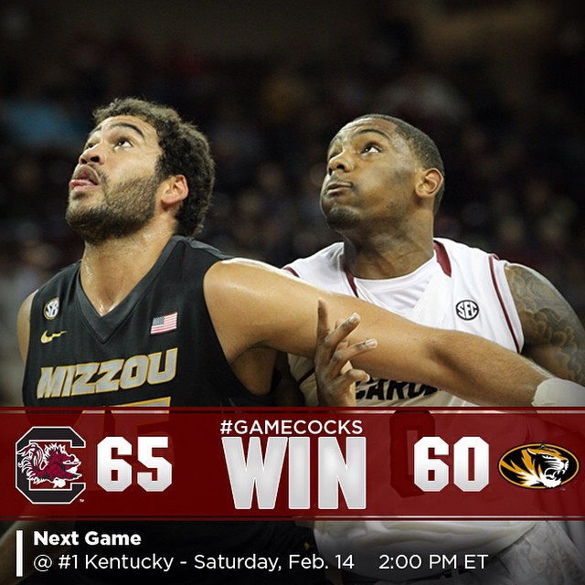 #Gamecocks WIN! Sindarius Thornwell with a team-high 14 points.
